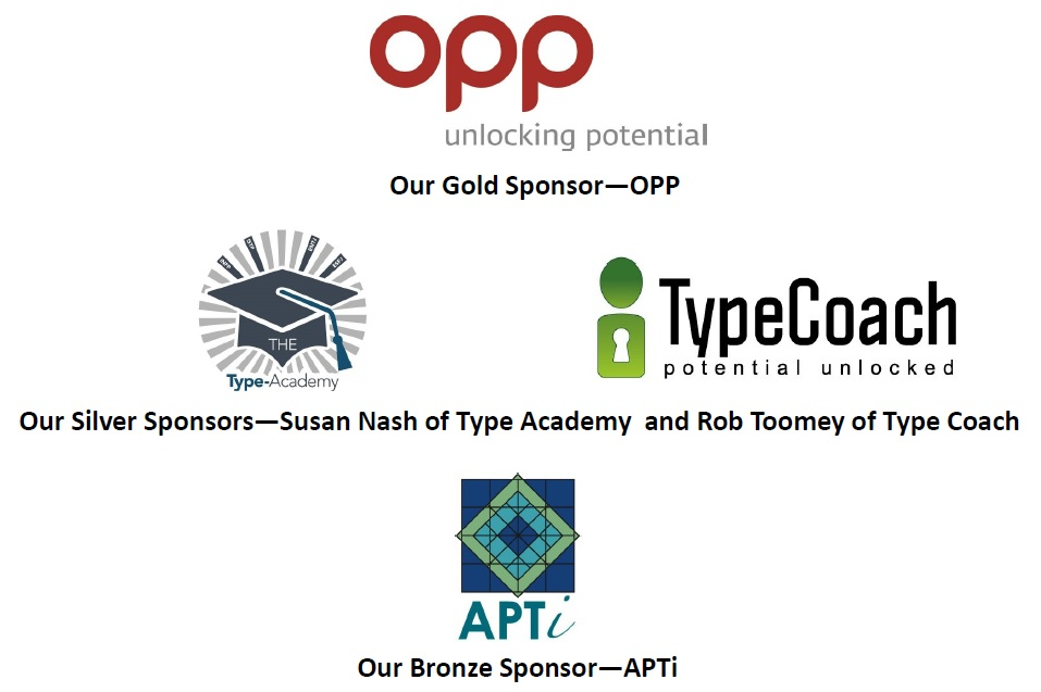 Sponsors of the 2014 BAPT Conference: OPP, The Type Academy, TypeCoach, APT International